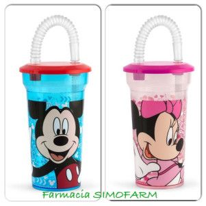 Pahar cu pai Minnie Mousei/Mickey Mouse x 400 ml